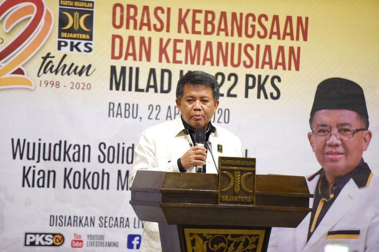 Presiden PKS Sohibul Iman dalam Orasi Kebangsaan dan Kemanusiaan Milda ke-22 PKS pada Rabu (22/4/2020) di Kantor DPP PKS.