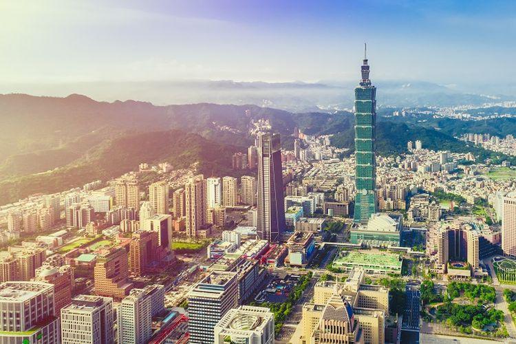 Ilustrasi Taiwan - Pemandangan menara Taipei 101.