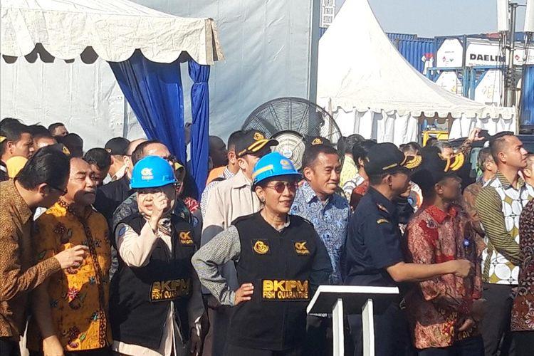 Menteri Kelautan dan Perikanan Susi Pudjiastuti di Pelabuhan Tanjung Priok, Jakarta, Jumat (19/7/2019).