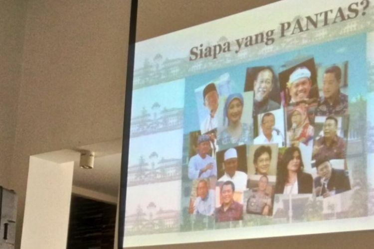Sejumlah narasumber saat memberikan pemaparan dalam Diskusi Publik: Magnet Pilkada Jabar 2018 di Cafe Centropunto, Bandung, Sabtu (25/3/2017)