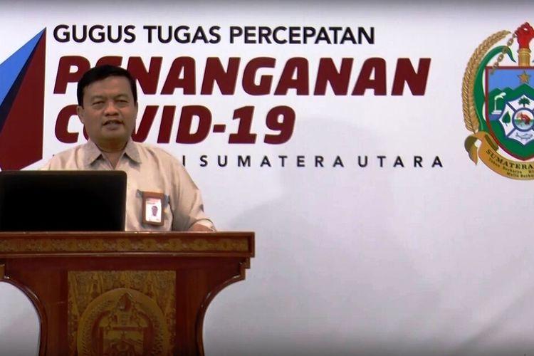 Sekretaris Panitia PPDB Dinas Pendidikan Provinsi Sumut Saut Aritonang saat memberikan keterangan pers di media center Gugus Tugas Percepatan Penanganan (GTPP) Covid-19 Sumut