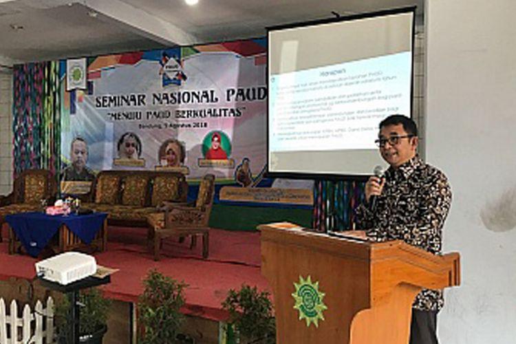 Dirjen PAUD dan Dikmas Harris Iskandar dalam seminar nasional PAUD bertema ?Menuju PAUD Berkualitas?, Kabupaten Bandung (6/8/2018)