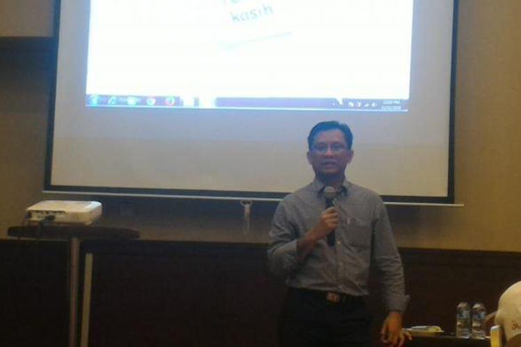 Direktur Penelitian, Pengembangan, Pengaturan, dan Perijinan Perbankan Syariah OJK Deden Firman pada acara Pelatihan Wartawan OJK di Bogor, Sabtu (12/11/2016).