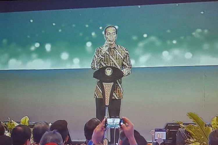 Presiden Joko Widodo saat memberikan sambutan pada acara Pertemuan Tahunan Bank Indonesia di Jakarta Convention Centre (JCC) Senayan, Jakarta, Selasa (27/11/2018)