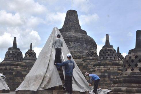 Antisipasi Hujan Abu Merapi, Stupa Candi Borobudur Ditutup Terpaulin