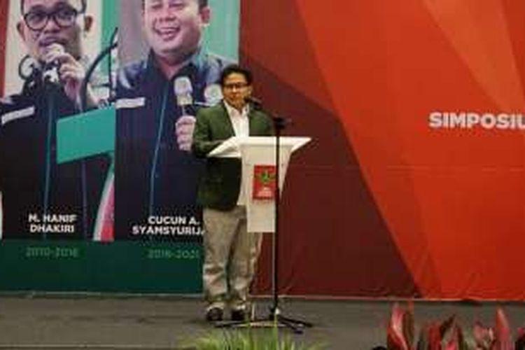 Ketua Umum PKB Muhaimin Iskandar saat menghadiri Musyawarah Pimpinan Nasional Garda Bangsa di Hotel Bidakara, Jakarta Selatan, Kamis (19/1/2017).