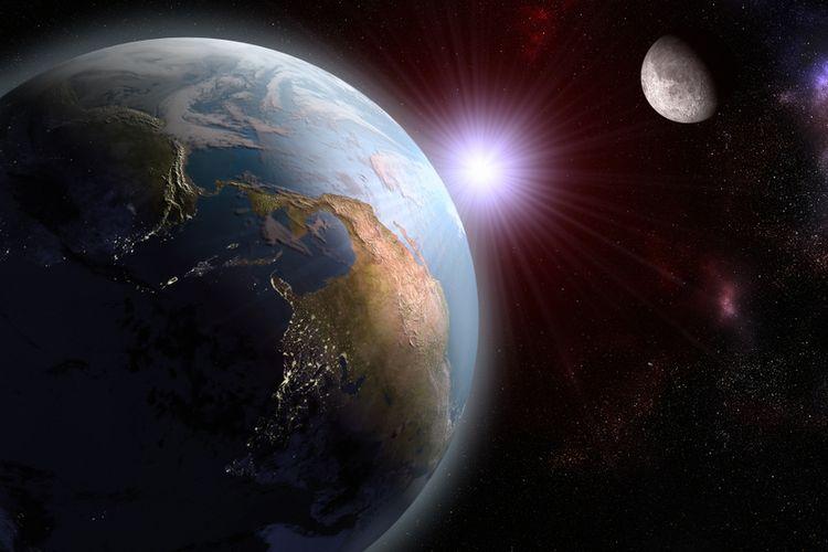 Ilustrasi sejarah kehidupan di Bumi, terbentuknya oksigen di planet ini.