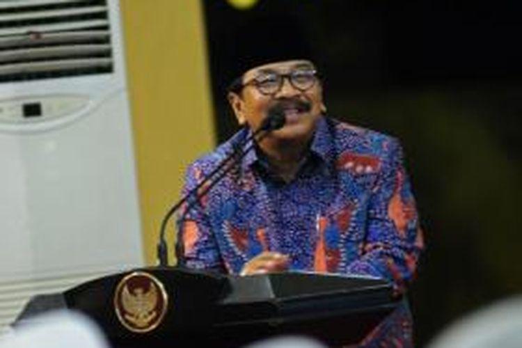 Soekarwo, Gubernur Jawa Timur, salah sebut jumlah kunjungan Presiden ke Madura, saat menyampaikan sambutan di Kabupaten Sumenep, Rabu (4/12/2013).