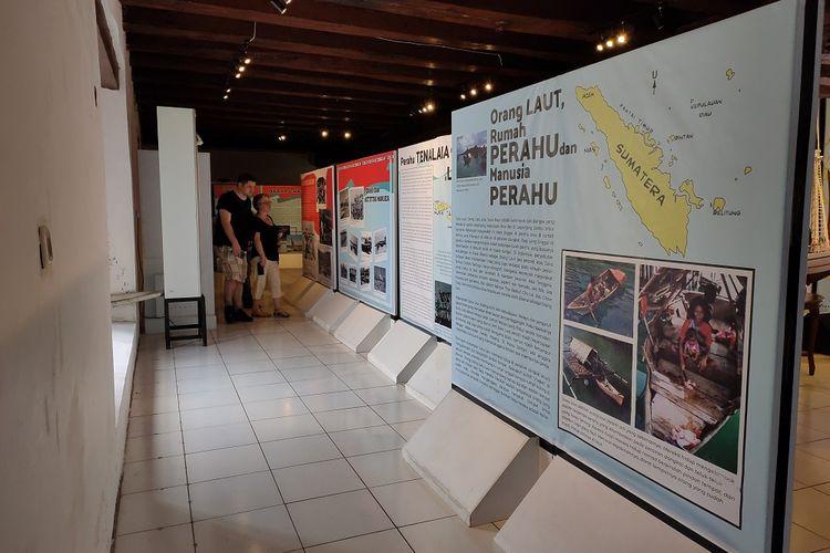 Suasana pameran perahu tradisional Nusantara di Museum Bahari, Jakarta, Sabtu (30/11/2019).