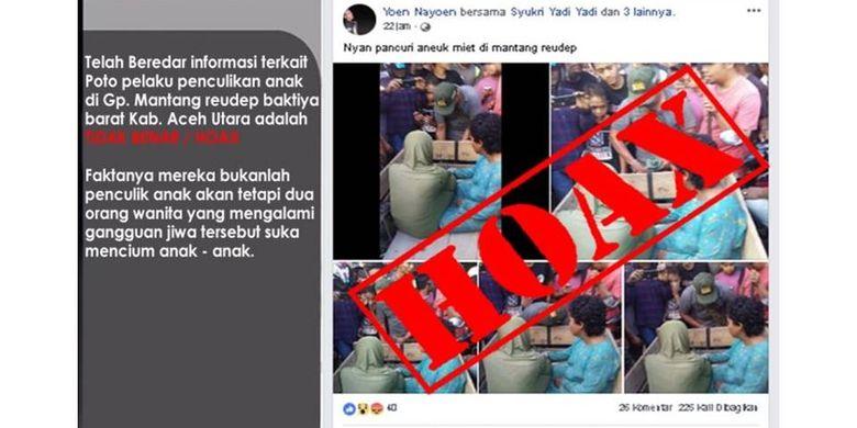 Tangkapan layar klarifikasi Polres Aceh Utara mengenai dua orang yang diduga penculik anak.