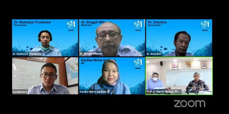 Webinar Food Safety Talk bertema Strategi Menghadapi Penolakan Produk Perikanan Indonesia di Pasar Global di Balai Besar Riset Pengolahan Produk dan Bioteknologi Kelautan dan Perikanan (BBRP2BKP), Kamis (6/5/2021).