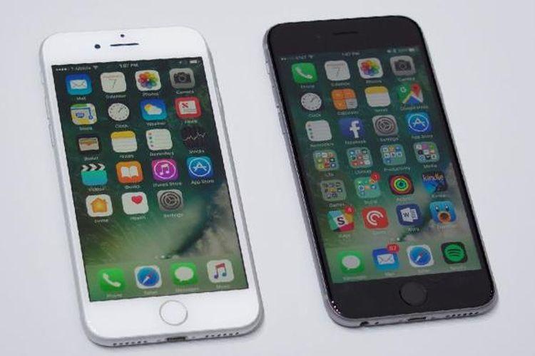 Perbandingan tampak depan iPhone 7 dan 6S