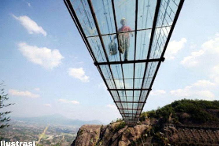 Ilustrasi jembatan gantung kaca.