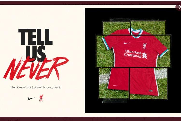 Rupa jersey kandang Liverpool untuk musim 2020-2021.