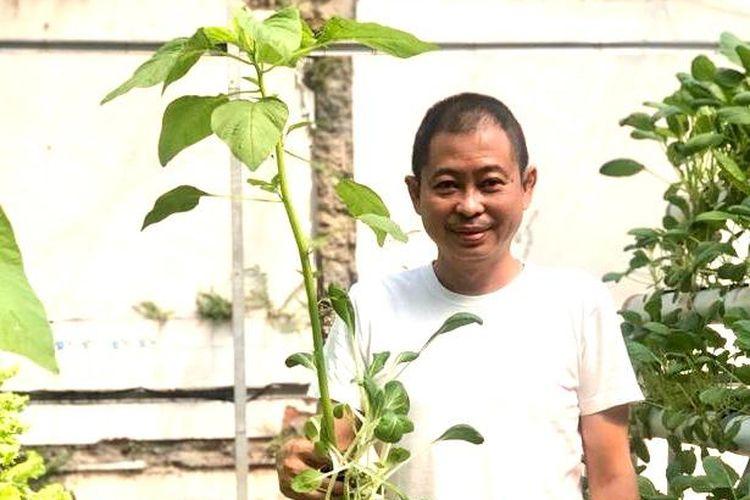 ignasius jonan memegang salah satu sayuran hasil panennya