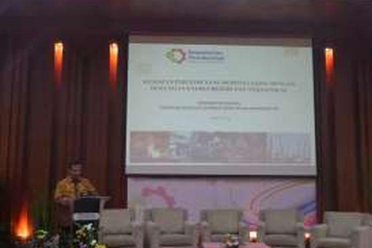 Menteri Perindustrian Saleh Husin dalam Seminar Nasional Thorium sebagai Sumber Daya Revolusi Industri, di Jakarta, Selasa (24/05/2016).