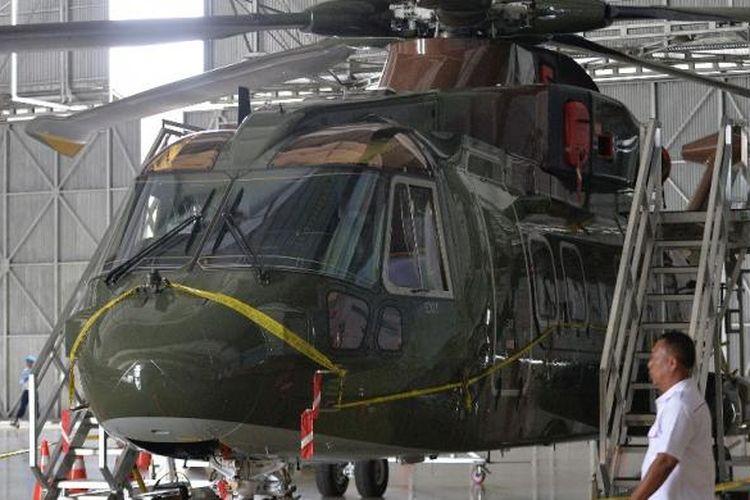 Helikoper AgustaWestland AW101 di Hanggar Skuadron Teknik 021, Lanud Halim Perdanakusuma, Jakarta Timur.