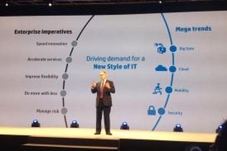 Senior Vice President HP Enterprise Services Asia Pacific and Japan, Bruce Dahlgren, menjelaskan tentang empat pilar teknologi informasi gaya baru.