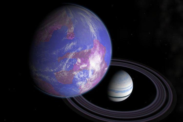 Ilustrasi exomoon mengorbit exoplanet