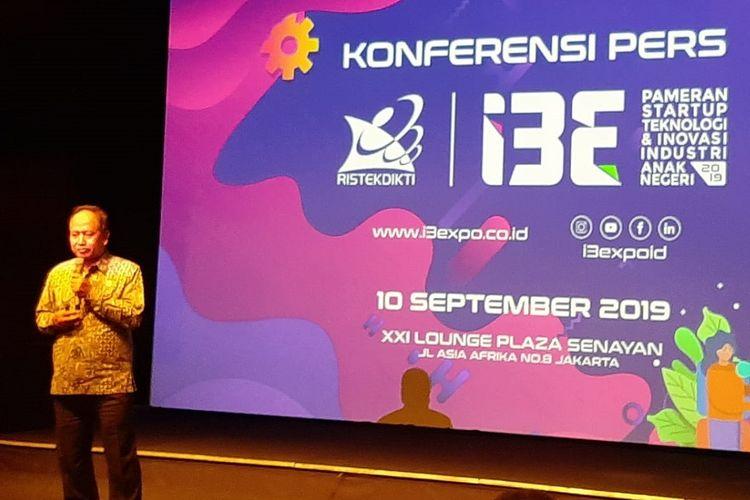 Menristekdikti Mohammad Nasir dalam konferensi pers I3E Pameran Startup Teknologi dan Inovasi Industri Anak Negeri 2019 di Jakarta, Selasa (10/9/2019).