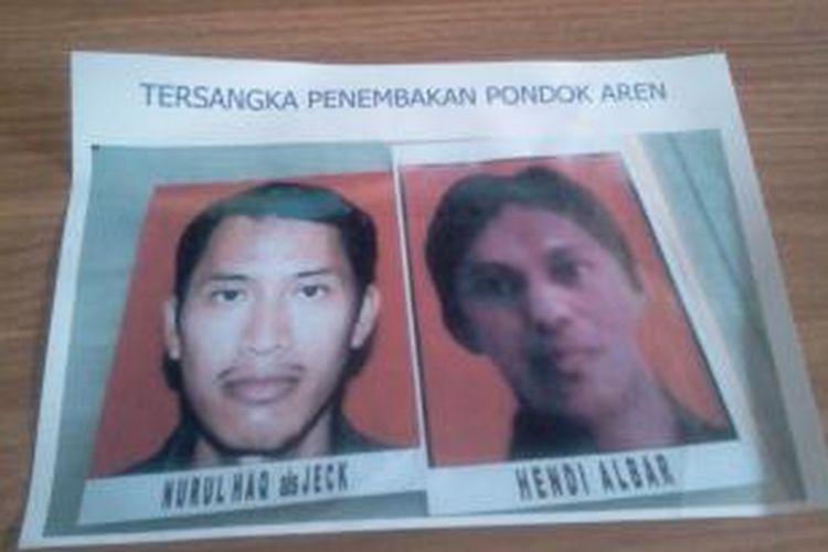 Polisi menyebar foto Nurul Haq alias Jeq dan Hendi Albar, dua terduga pelaku penembakan terhadap polisi di wilayah Tangerang Selatan, Banten, Jumat (13/9/2013). Kedua orang tersebut saat ini masuk daftar pencarian orang (DPO).
