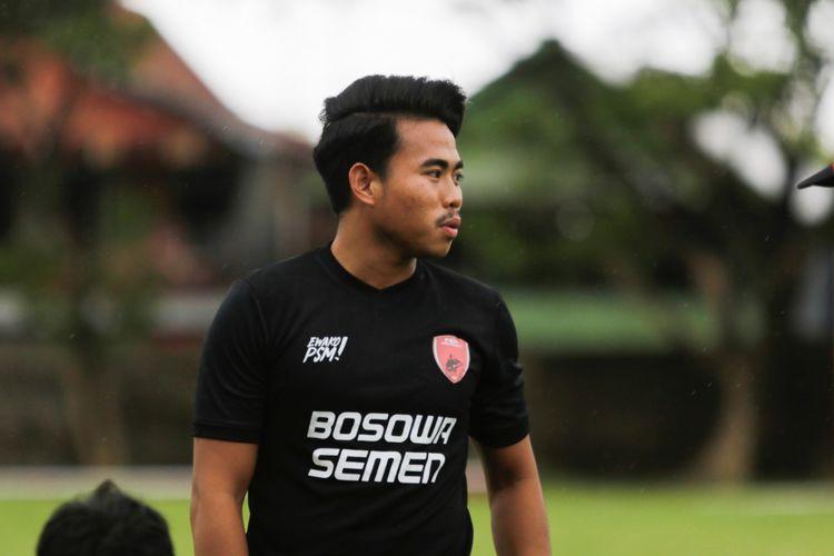 Pemain muda Nurhidayat latihan perdana bersama PSM Makassar, Jumat (12/03/2021) sore.