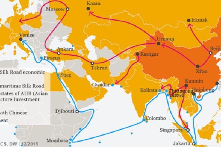 One Belt, One Road (OBOR), yakni prakarsa baru China untuk memperluas jaringan perdagangan