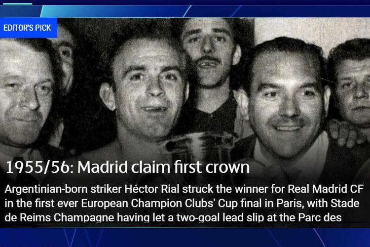 Final Piala Champions pertama yang bergulir pada 13 Juni 1956.