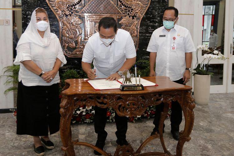 Acara serah tugas sementara jabatan Wali Kota Semarang kepada Iswar Aminuddin, Rabu (17/2/2021). Rencananya, Iswar menggantikan Hendrar Priadi (Hendi) hingga Jumat (26/2/2021) mendatang.