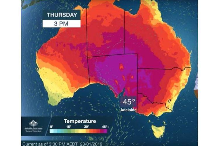Peta prakiraan gelombang panas ekstrem untuk Kamis, ketika catatan suhu diperkirakan akan terpecah dengan cuaca panas di Australia Selatan, Victoria, Tasmania, dan NSW.
