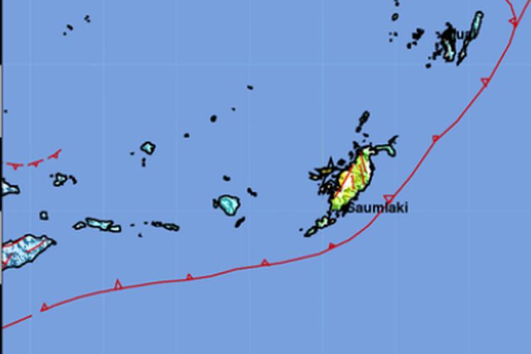 Lokasi gempa 6,7 M di Maluku, Tenggara Barat, Rabu (26/2/2020) pukul 14.33 WIB.