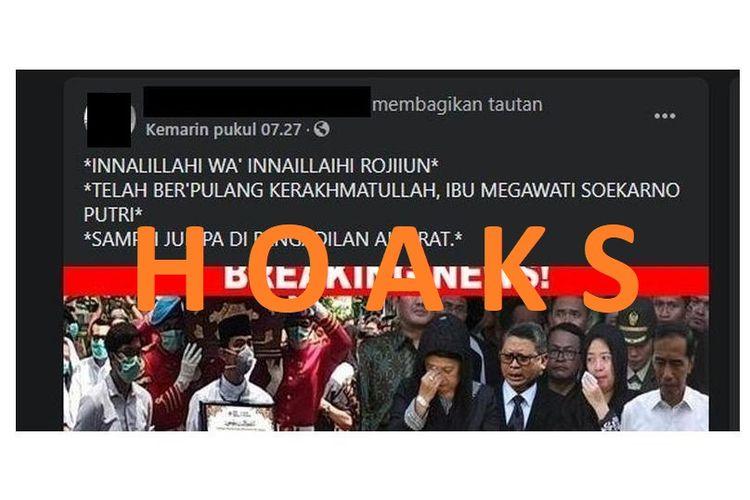Tangkap layar informasi hoaks yang menyebut Presiden kelima RI Megawati Soekarnoputri meninggal dunia. Informasi ini tidak benar.