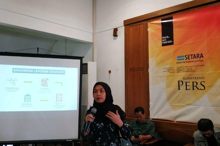 Peneliti bidang HAM dan Perdamaian Setara Institute, Selma Theofany, di Cikini, Jakarta Pusat, Selasa (10/12/2019).