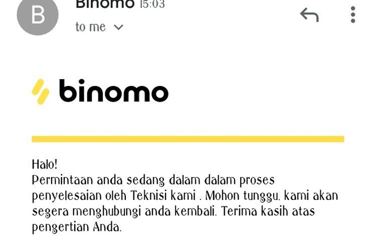 Balasan Binomo kepada Kompas.com terkait tudingan kegiatan usaha investasi ilegal, Jakarta, Senin (25/11/2019).