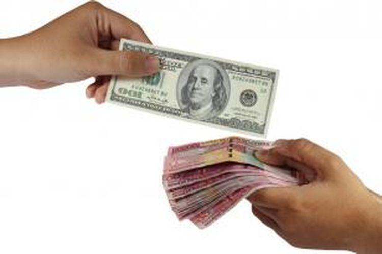 Ilustrasi nilai tukar rupiah terhadap dollar AS.