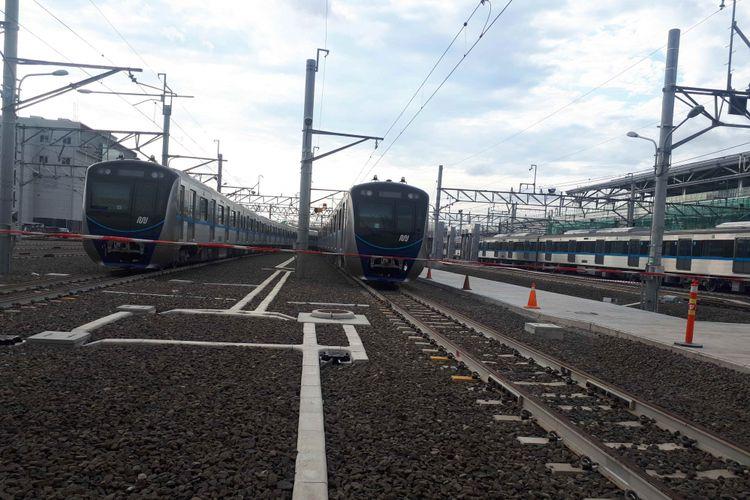 Rangkaian kereta MRT di Depo Lebak Bulus, Jakarta Selatan. Foto diambil Kamis (27/12/2018).