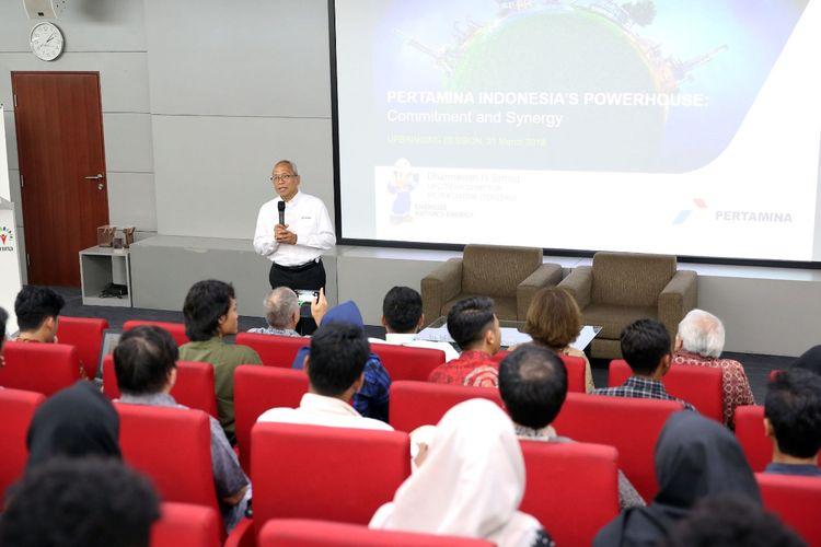 Universitas Pertamina menggelar seminar menghadirkan Direktur Hulu PT Pertamina (Persero), Dharmawan H. Samsu mengangkat tema Peran Strategis Industri Hulu dalam Mendukung Ketahanan Energi Nasional (21/3/2019).