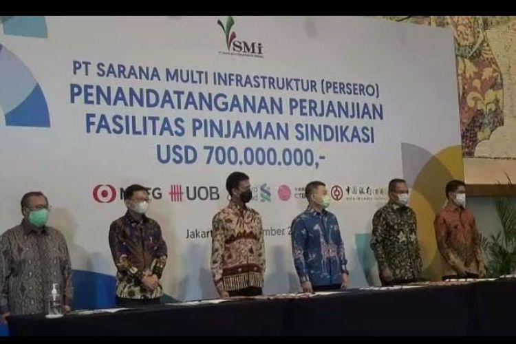 Pressconference perjanjian penandatanganan PT Sarana Multi Infrastruktur, Kamis (10/9/2020). (Tangkapan Layar)