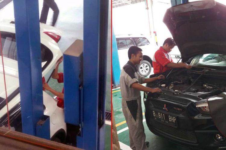 Bagian wiper (foto kanan) dan pegas di pintu belakang pada Mitsubishi Outlander yang masuk dalam kampanye recall.