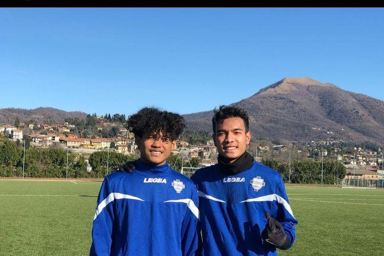 Dua pemain tim Garuda Select II, Bagus Kahfi dan Brylian Aldama usai menjalani sesi latihan bersama Calcio Como 1907, di Como, Italia, Senin (20/1/2020). Calcio Como 1907 adalah klub Italia yang bermain di Serie C.
