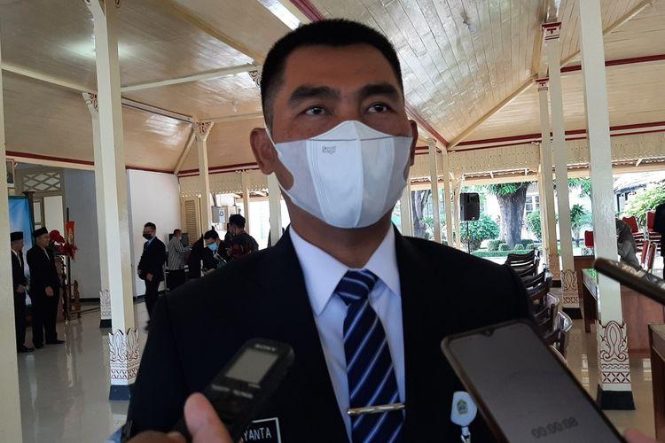 Bupati Gunungkidul Sunaryanta di Bangsal Sewokoprojo, Wonosari, Gunungkidul Jumat (23/4/2021)