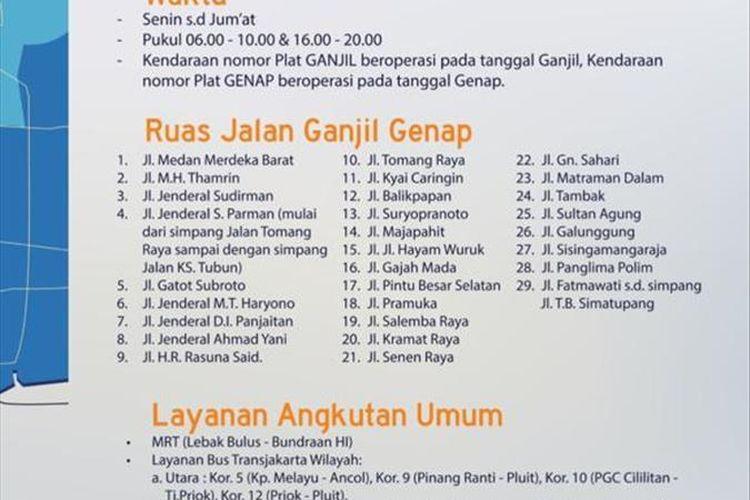 Informasi rute perluasan ganjil genap di Jakarta