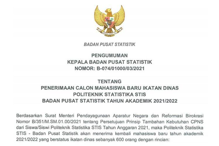 Pendaftaran Politeknik Statistika STIS Tahun Akademik 2021/2022