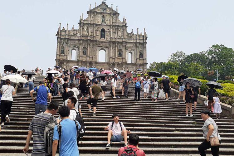 Reruntuhan St Paul atau Ruin of St Paul. Salah satu ikon Makau, wilayah administrasi khusus China.