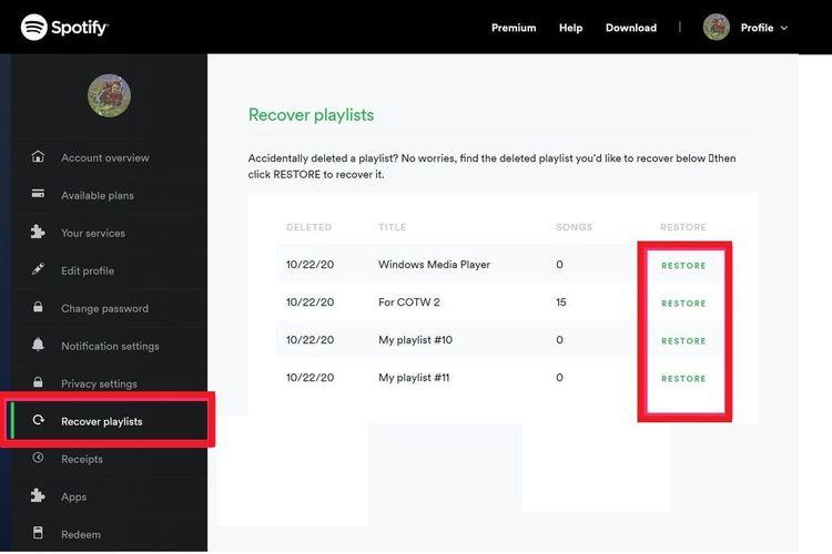 Fitur Recover Playlist yang ada di aplikasi Spotify