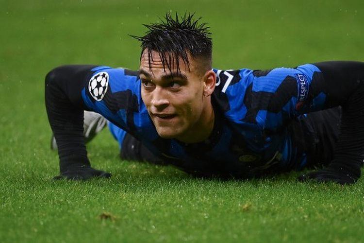 Lautaro Martinez pada laga terakhir Grup B Liga Champions yang mempertemukan Inter Milan vs Shakhtar Donetsk di Stadion Giuseppe Meazza, Rabu (9/12/2020) atau Kamis dini hari WIB.
