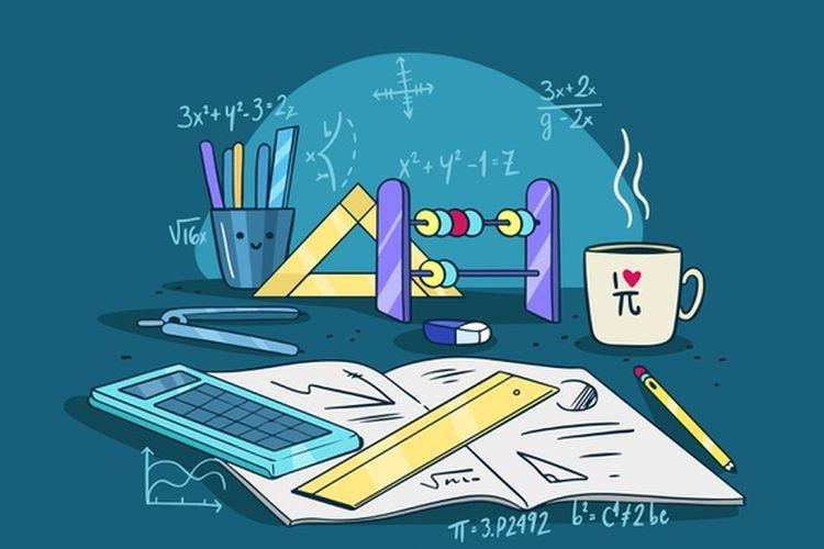 Ilustrasi perlengkapan belajar matemtika.
