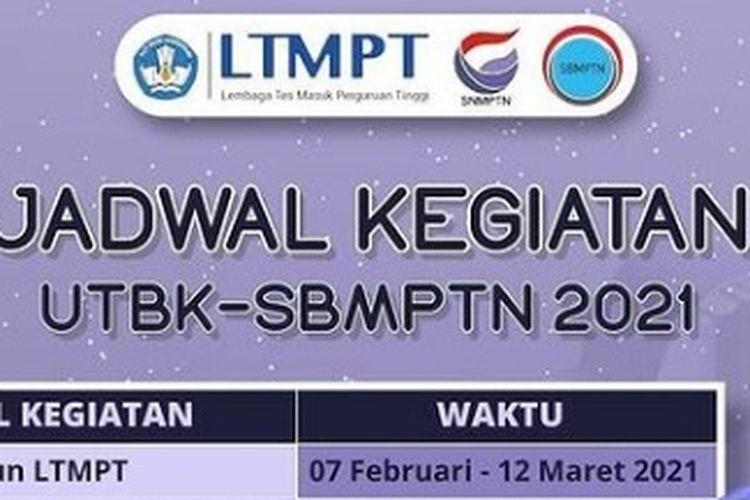 Tampilan layar jadwal kegiatan UTBK-SBMPTN 2021