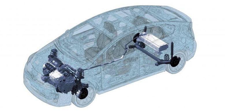 Sistem gerak Toyota Prius.