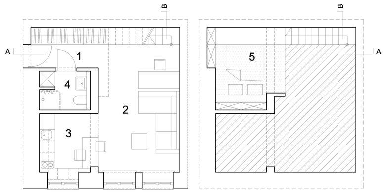 Denah kiri: lantai pertama, kanan: area mezanine